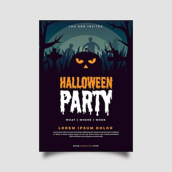 Flat design halloween party poster