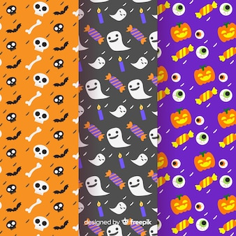 Flat design of halloween pattern collection