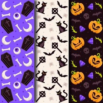 Flat design halloween pattern collection