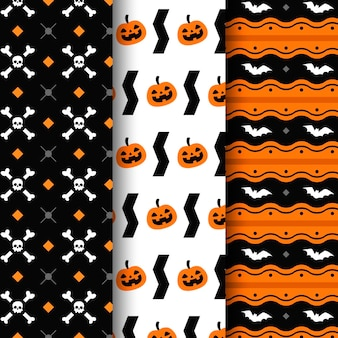 Flat design halloween pattern collection