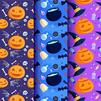 Flat design halloween pattern set