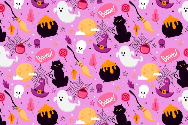 Flat design halloween pattern