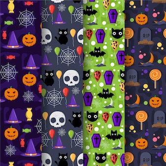 Flat design halloween patterns collection