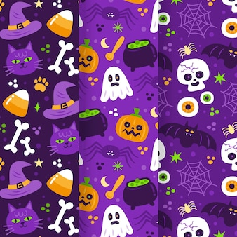 Flat design halloween patterns pack