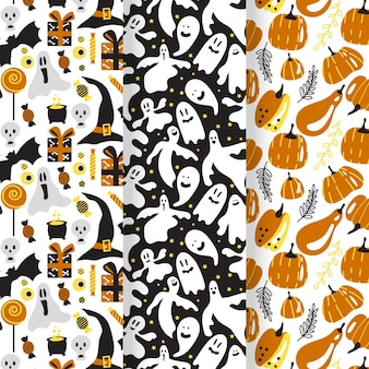 Flat design halloween patterns set