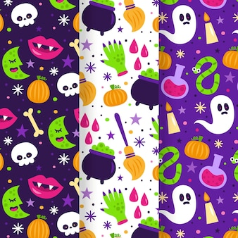 Flat design halloween patterns template