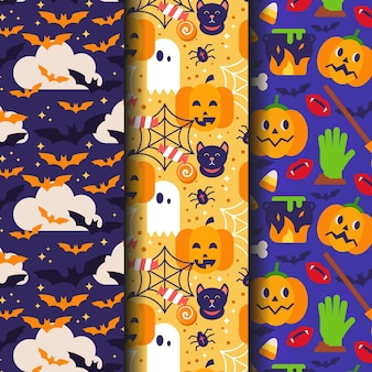 Flat design halloween patterns