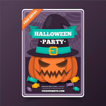 Flat design halloween poster with pumpkin