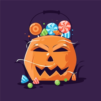Flat design halloween pumpkin bag