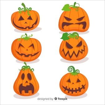 Flat design of halloween pumpkin collection