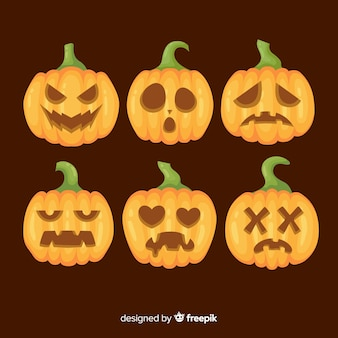 Flat design of halloween pumpkin collection