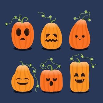 フラットデザインのハロウィンかぼちゃコレクション