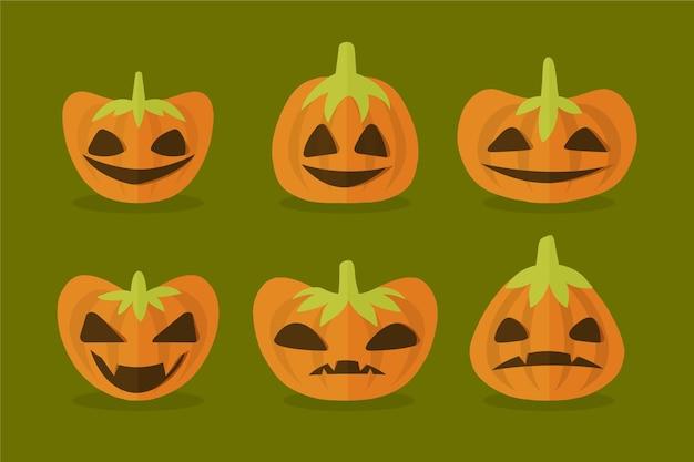 Плоский дизайн коллекции тыкв хэллоуин