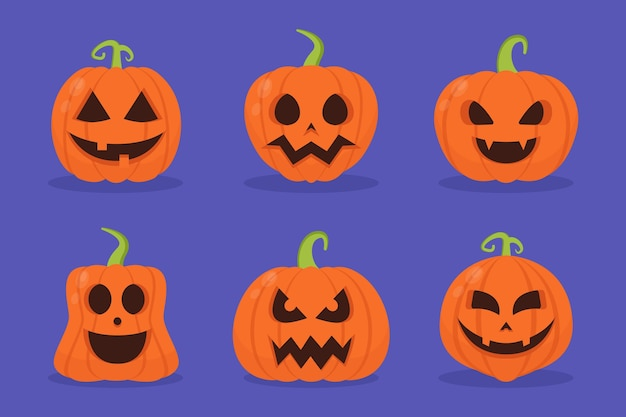 Flat design halloween pumpkin pack