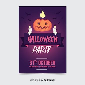 Flat design of halloween pumpkin party poster template