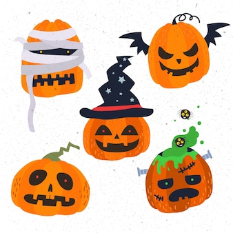 Set di zucca di halloween design piatto