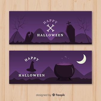Flat design of halloween purple bannesr