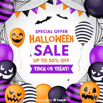 Flat design halloween sale background with balloons