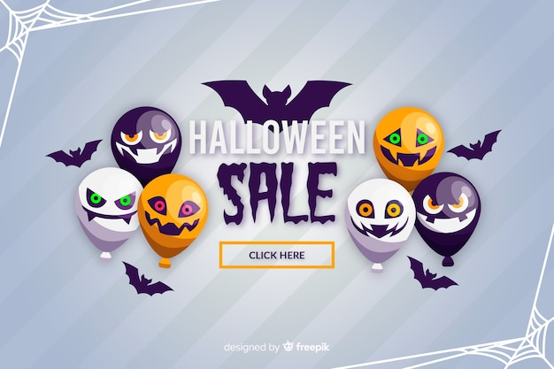 Flat design of halloween sale background with balloons