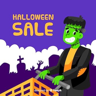 Flat design halloween sale background