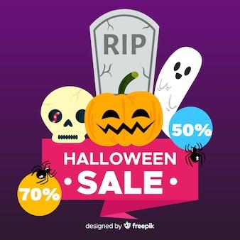 Flat design halloween sale background