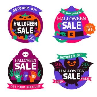 Плоский дизайн коллекции значков продажи хэллоуин
