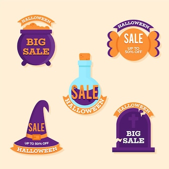 Flat design halloween sale badge collection
