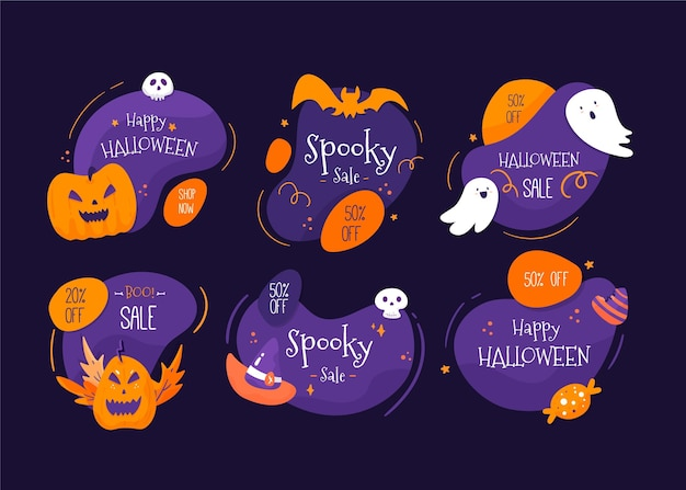 Flat design halloween sale badges collection