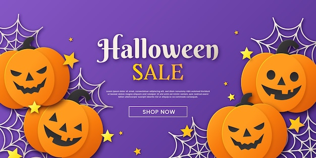 Flat design halloween sale concept