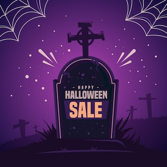 Flat design halloween sale concept