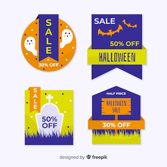 Flat design halloween sale label collection