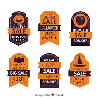 Flat design of halloween sale label collection