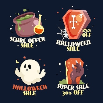 Flat design halloween sale label collection