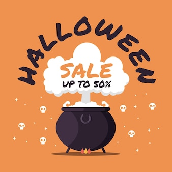 Flat design halloween sale promotion
