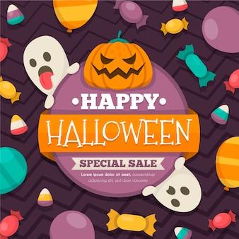 Flat design halloween sale promotional illustration