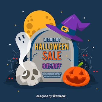 Flat design of halloween sale on tomb stone