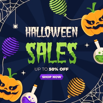 Flat design halloween sale with angry pumpkins