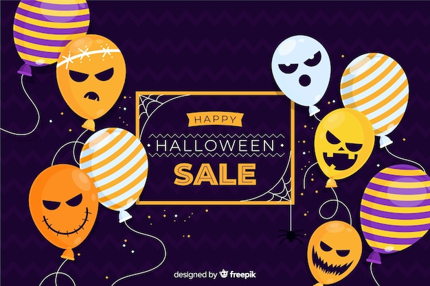 Flat design halloween sale with balloons