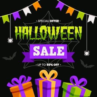 Flat design halloween sale with discount