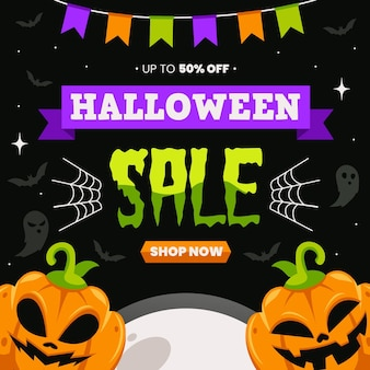 Flat design halloween sale with offer