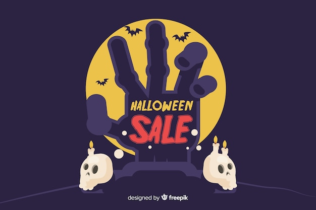 Flat design of halloween sale with zombie hand and skulls