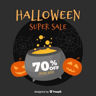 Flat design of halloween sale