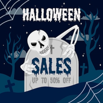 Плоский дизайн хэллоуин продажа