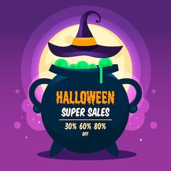 Flat design halloween sale