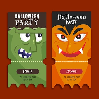 Flat design halloween tickets template