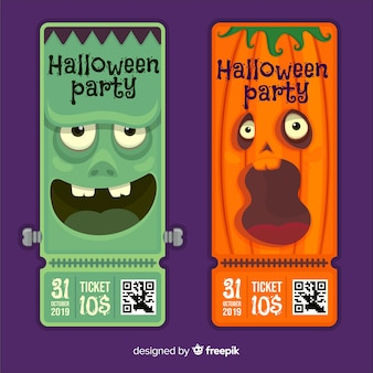 Flat design of halloween tickets with pumpkin and frankenstein monster