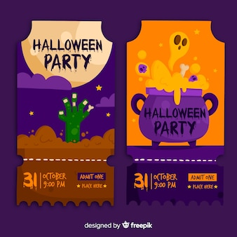 Flat design of halloween tickets