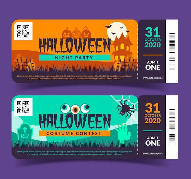 Biglietti di halloween design piatto