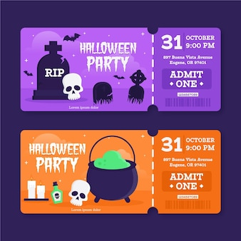 Flat design halloween tickets