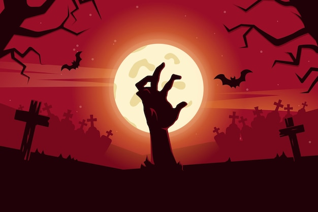 Flat design halloween wallpaper design